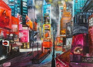Time Square in N.Y., MAMMA MIA!, Mixed Media 2018-100x140cm